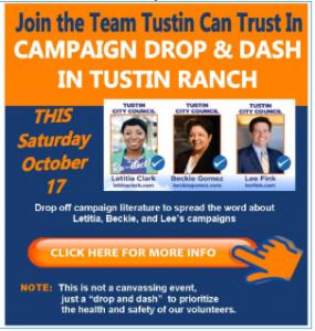 Tustin City Council Candidates Campaign Drop and Dash @ Meet at Citrus Ranch Park on Portola between Jamboree and Tustin Ranch Road